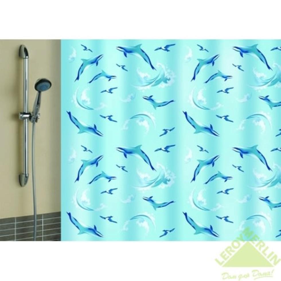 Штора для ванной комнаты «Дельфины» 180х180 см цвет голубой