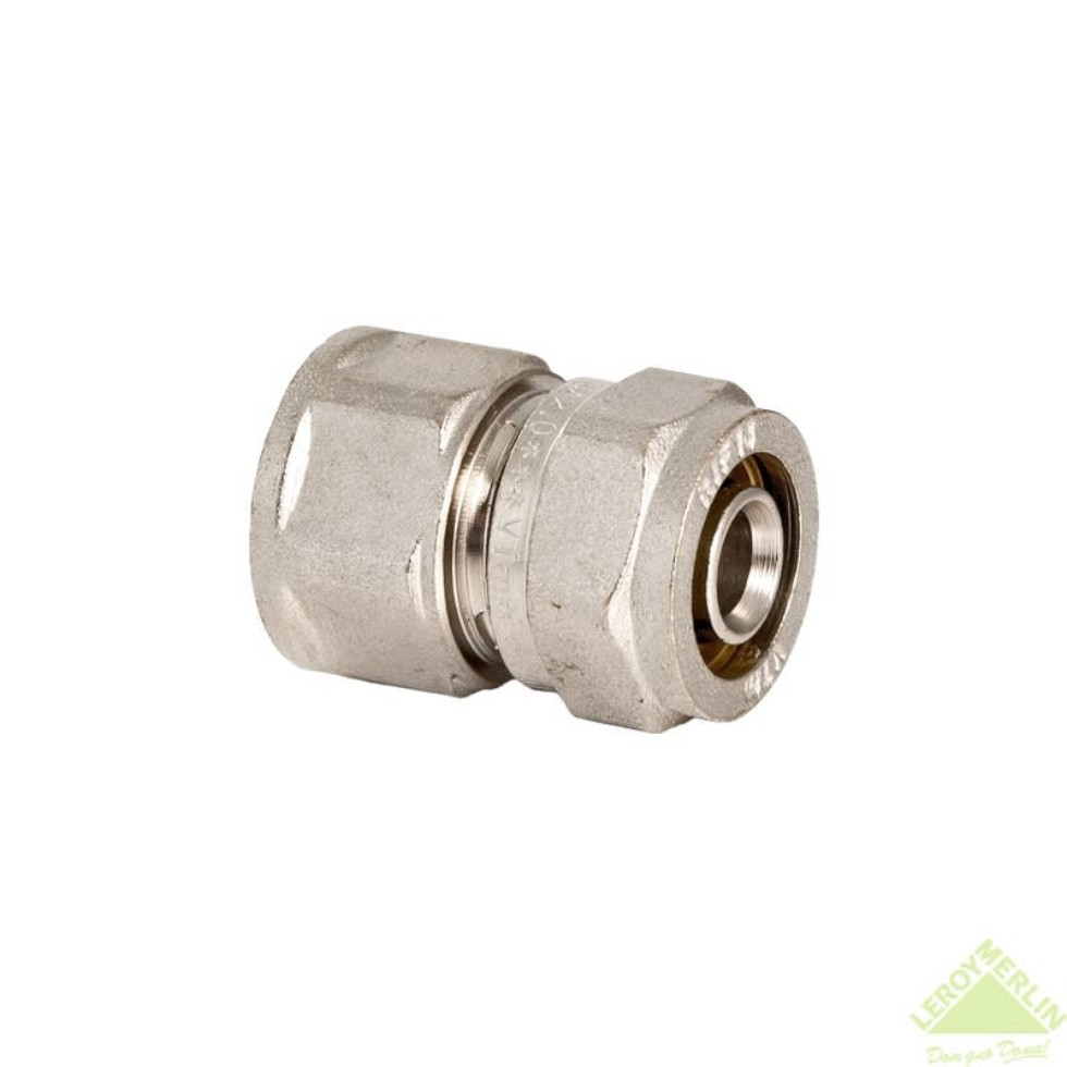 Соединитель обжимной, внутренняя резьба, 20 мм х 1/2, никелированная латунь