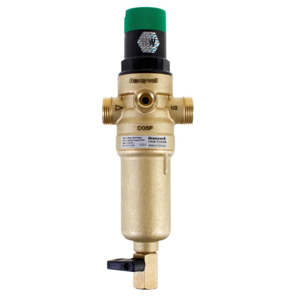 Фильтр механической очистки Honeywell для горячей воды с клапаном пониженного давления, 1/2, 100 мкм