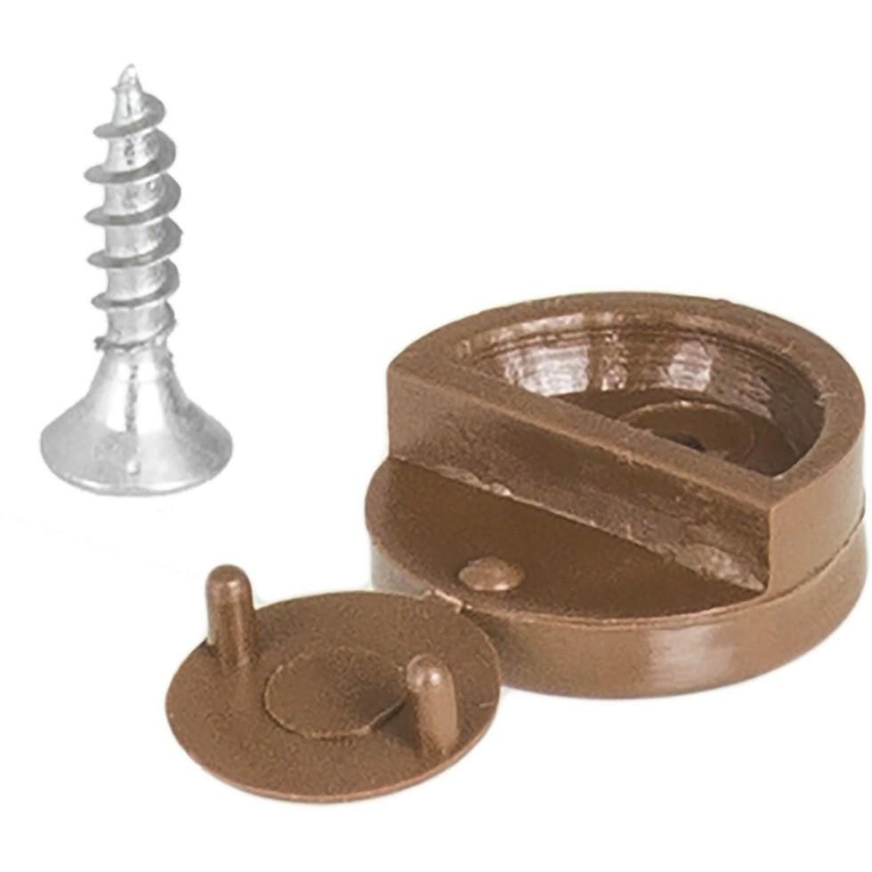 Зеркалодержатель мебельный с шурупом, пластмасса, цвет темно-коричневый, 8 шт.