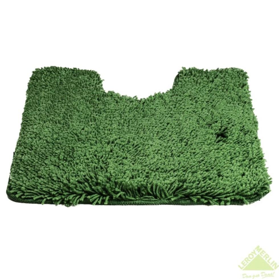 Коврик для туалета Shaggy, 55х55 см, цвет зелёный