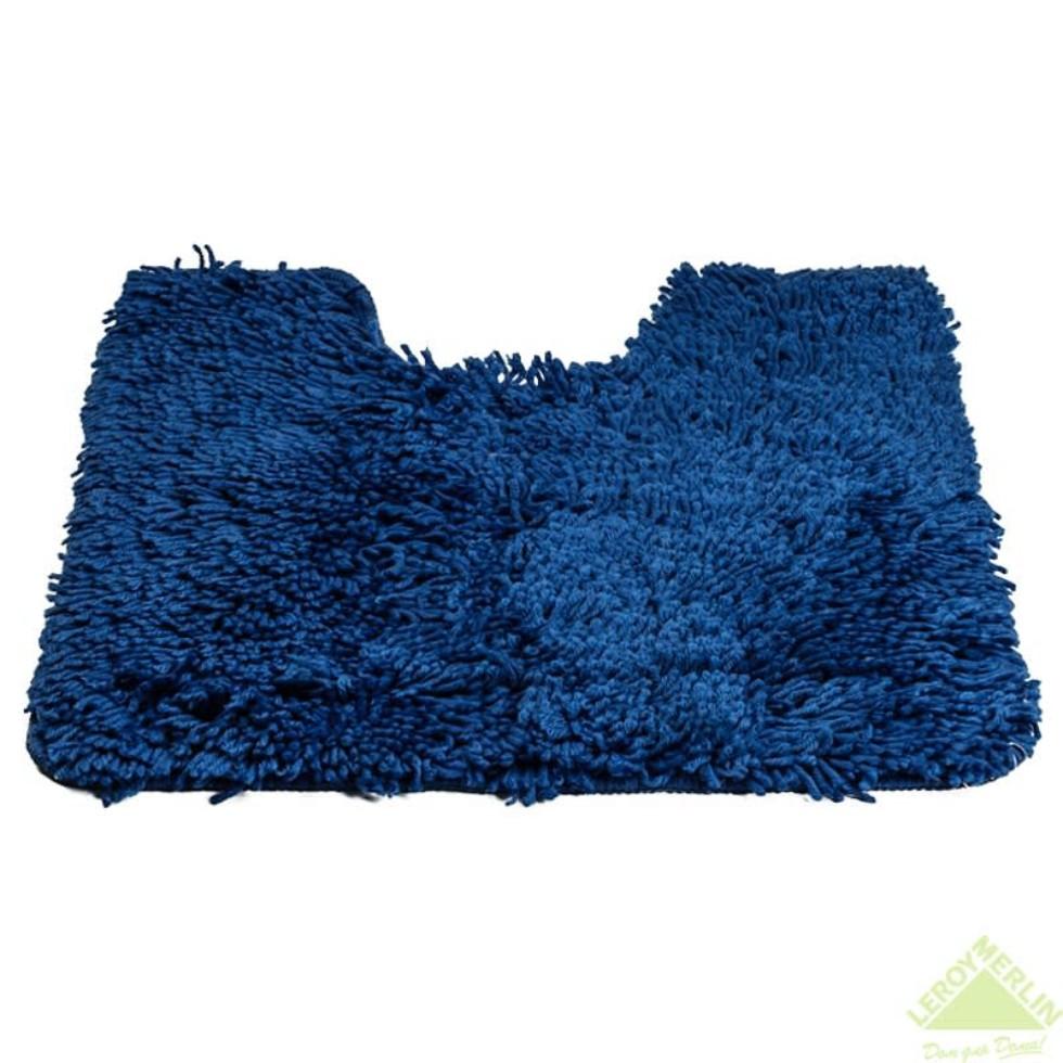 Коврик для туалета Shaggy, 55х55 см, цвет синий