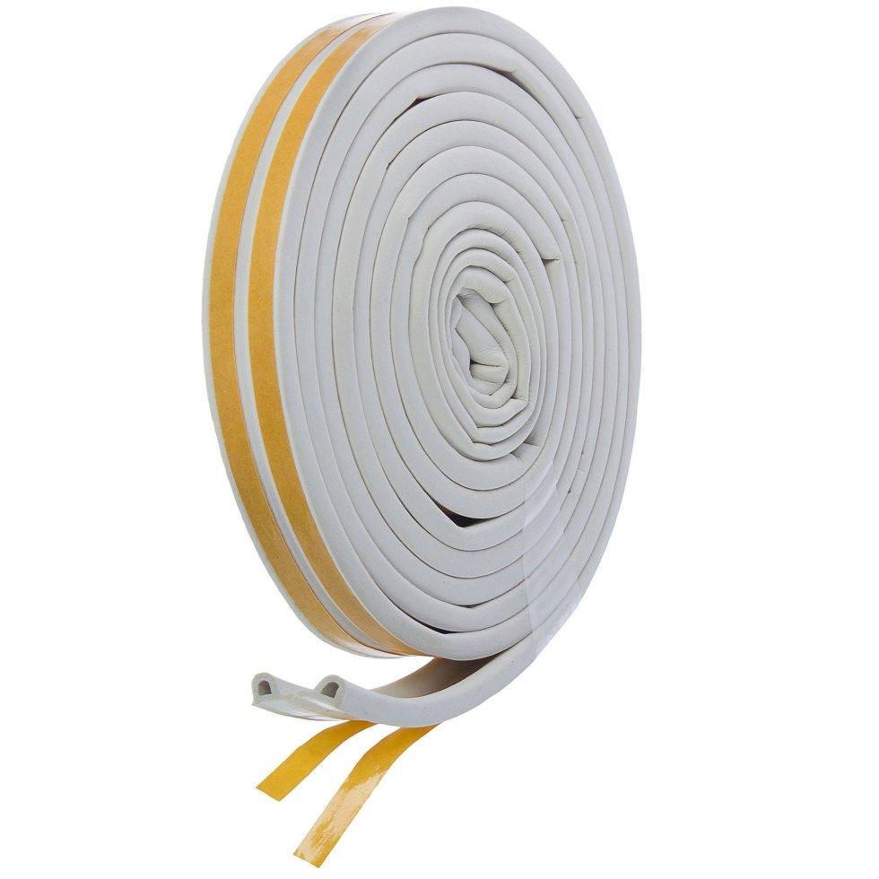 Уплотнитель для окон белый P-профиль, 9х5.5 мм х 6 м