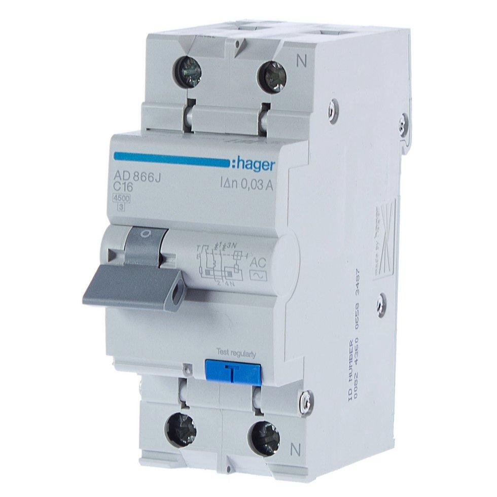 Автомат дифференциальный Hager 1 полюс 16 А
