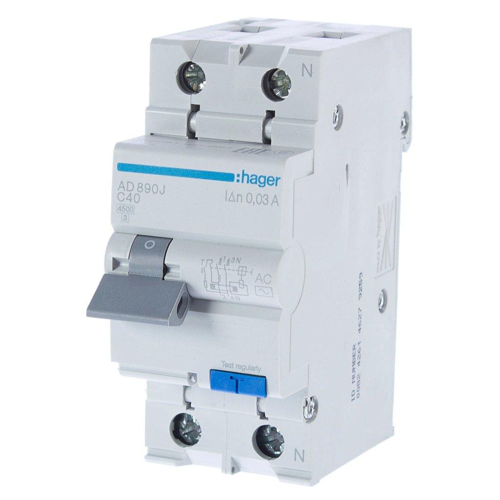Автомат дифференциальный Hager 1 полюс 40 А