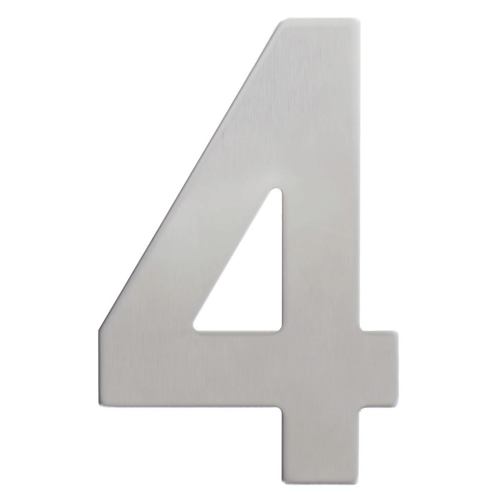 Цифра «4» самоклеящаяся 95х62 мм нержавеющая сталь цвет серебро