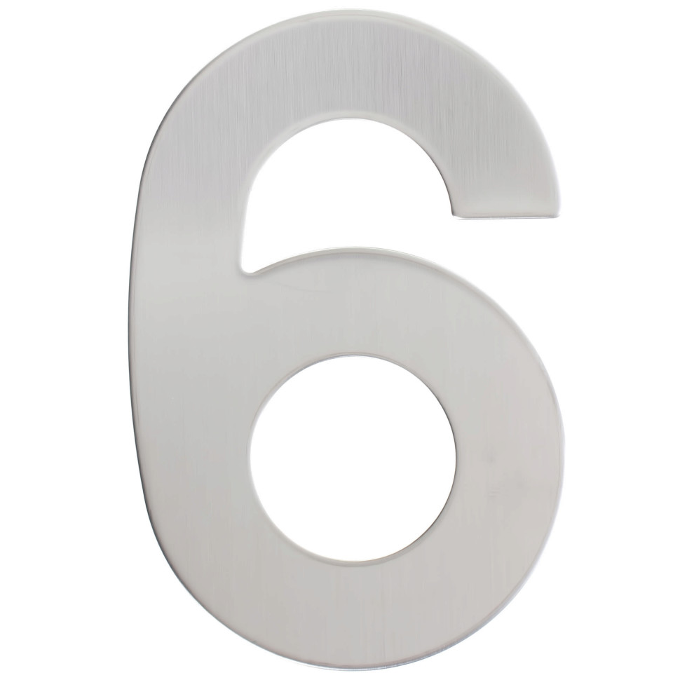 Цифра «6» самоклеящаяся 95х62 мм нержавеющая сталь цвет серебро