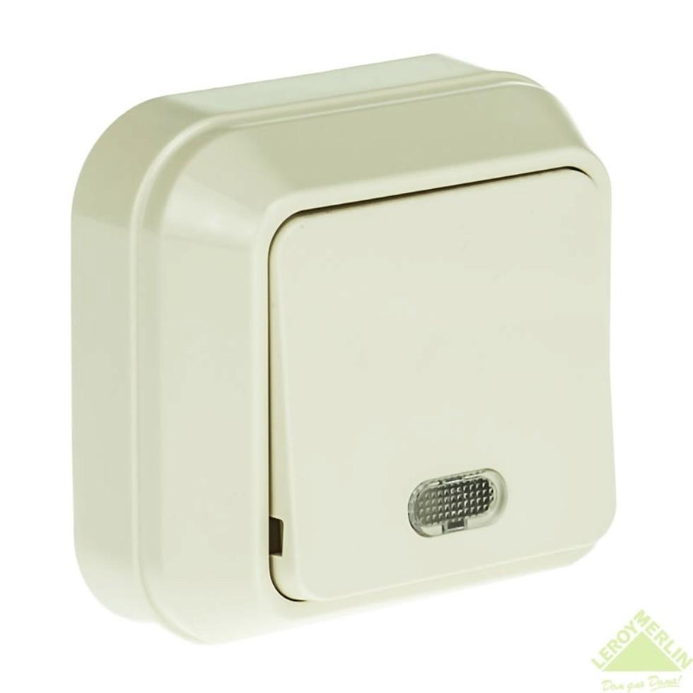 Выключатель Makel SivaUstu 1 клавиша индикатор цвет кремовый