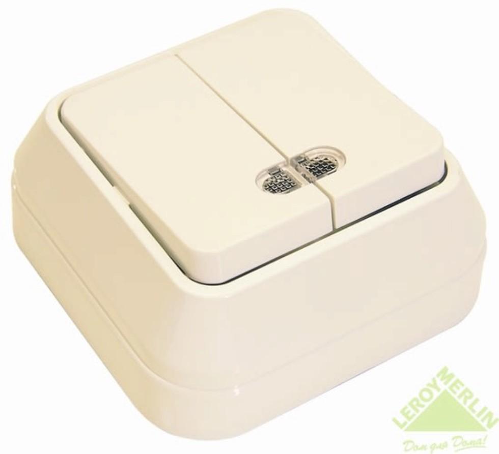 Выключатель Makel SivaUstu 2 клавиши индикатор цвет кремовый