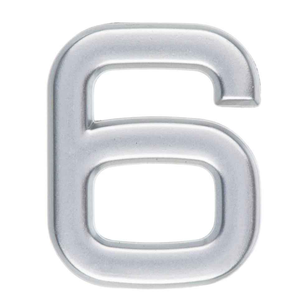 Цифра «6» самоклеящаяся 40х32 мм пластик цвет матовое серебро