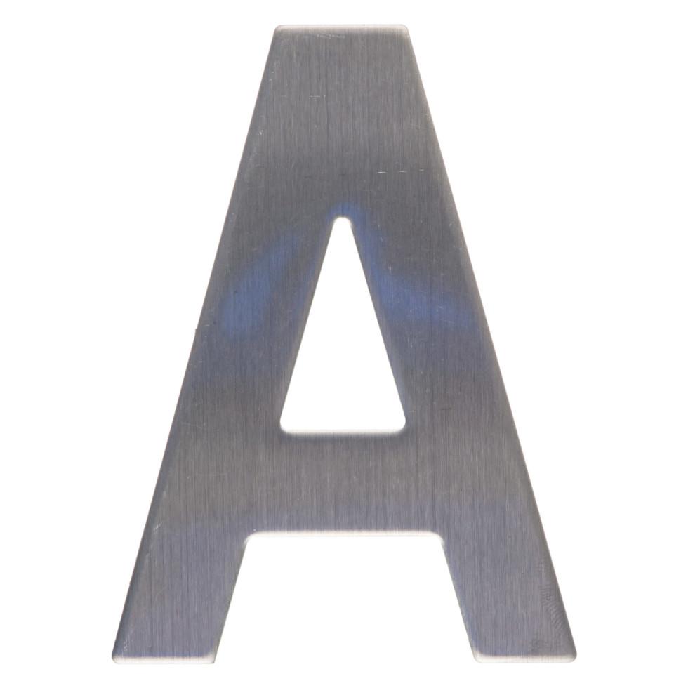Цифра «А» самоклеящаяся 95х62 мм нержавеющая сталь цвет серебро