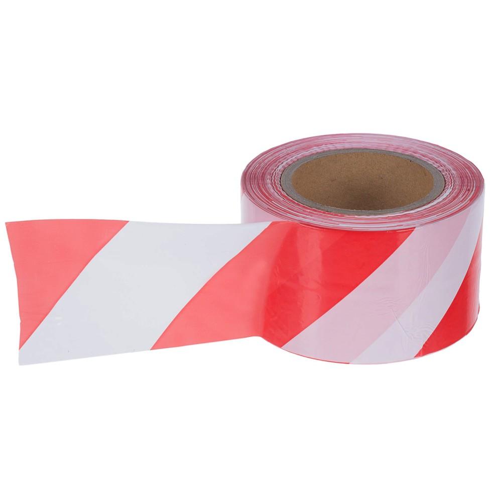 Лента оградительная 250 м цвет красно-белый