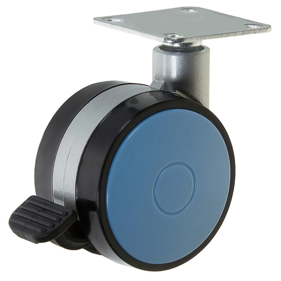 Колесо Boyard N107BL/Blu, 60 мм поворотное с тормозом, цвет голубой
