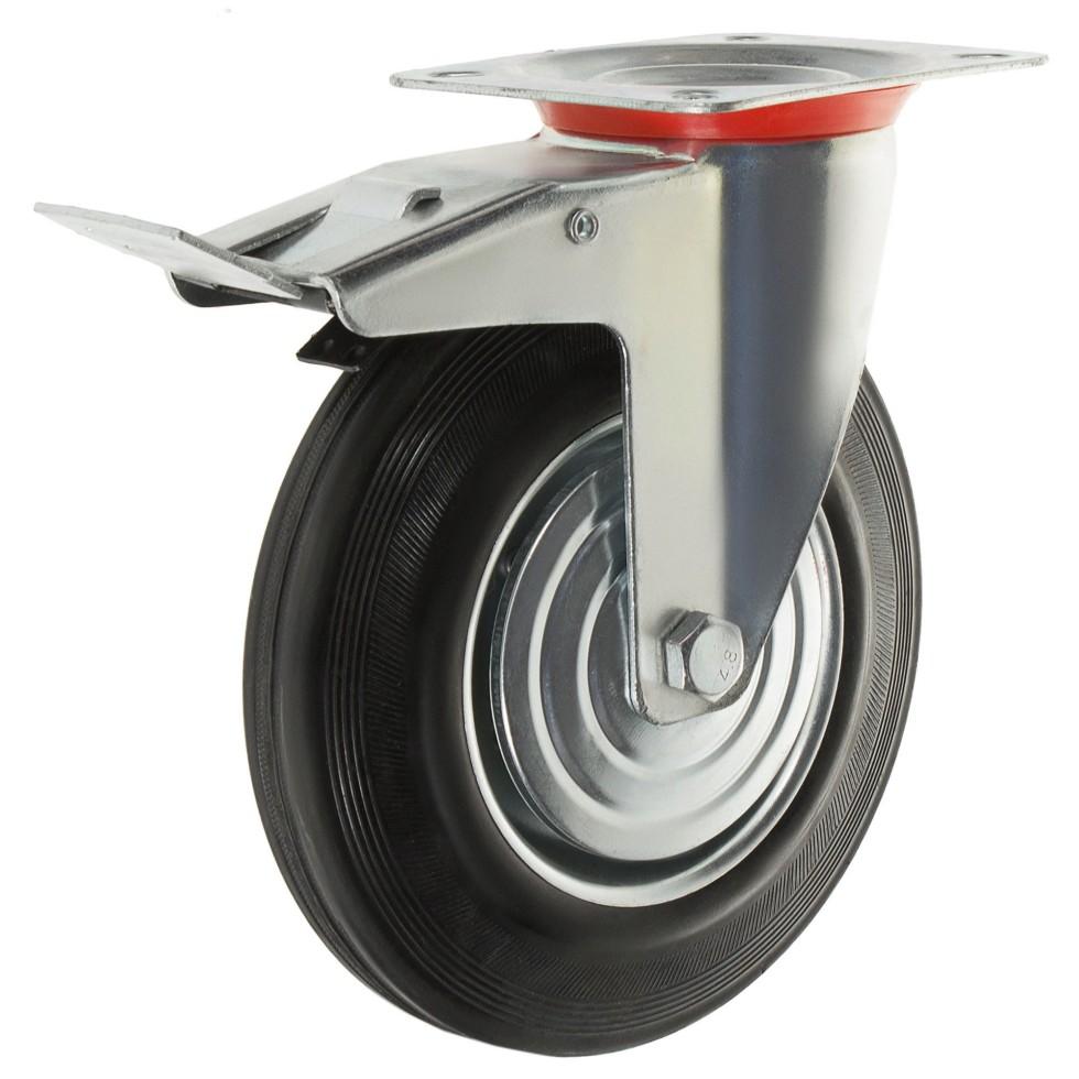 Колесо 200 мм поворотное с тормозом, до 205 кг