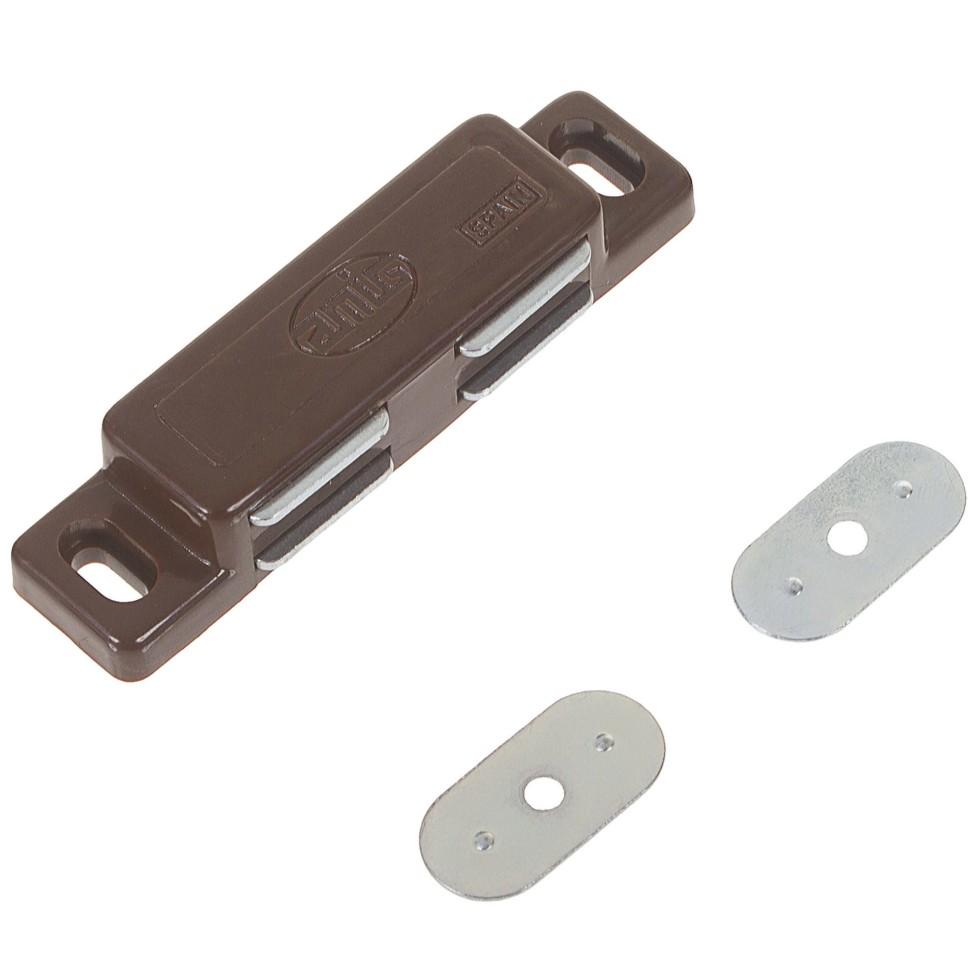 Защёлка магнитная Amig Модель 20, 75х18 мм, пластик, цвет коричневый
