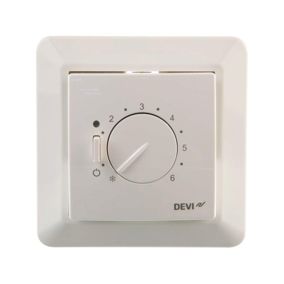 Терморегулятор Devireg 530 с датчиком пола, цвет белый