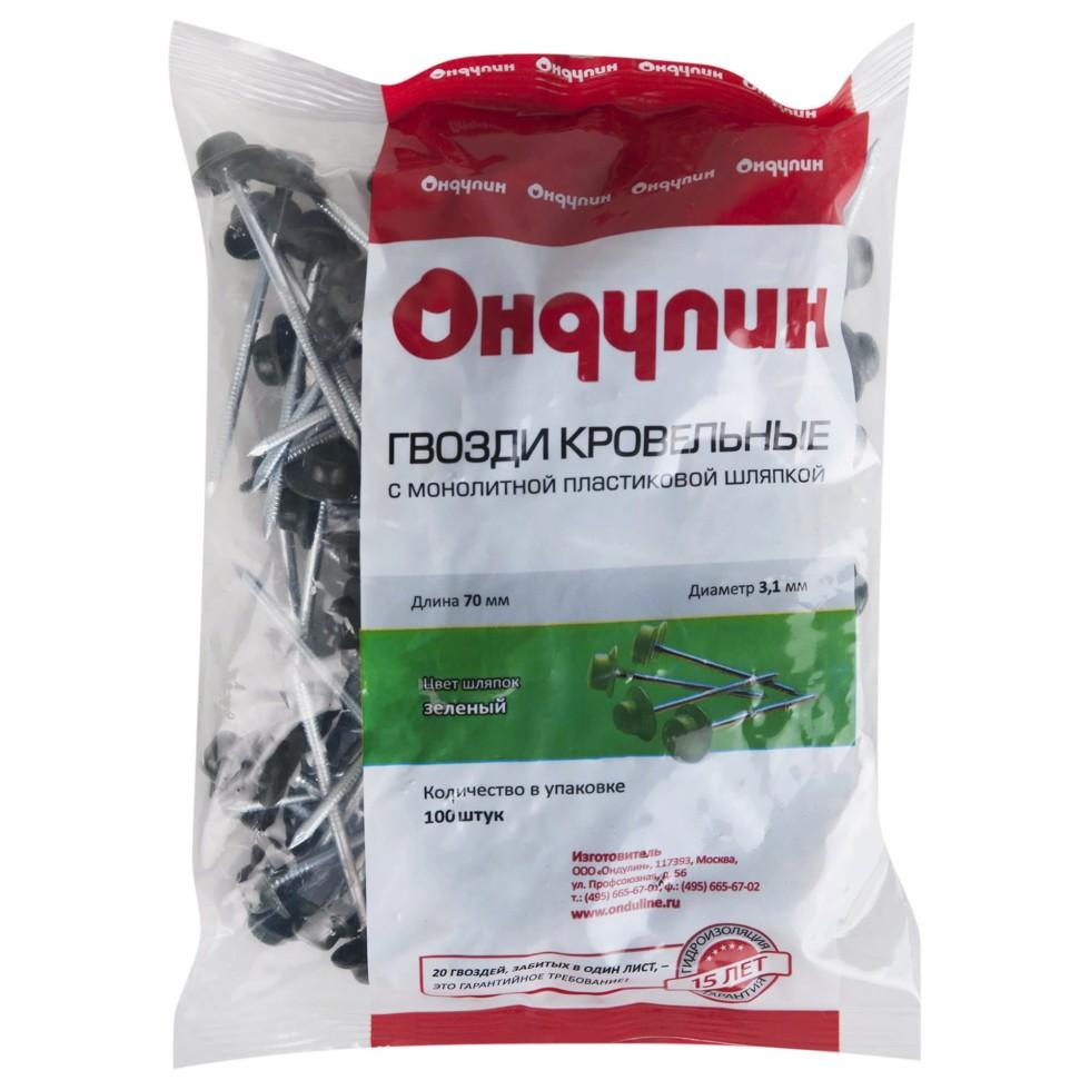 Гвозди для Ондулина цвет зелёный, 100 шт.