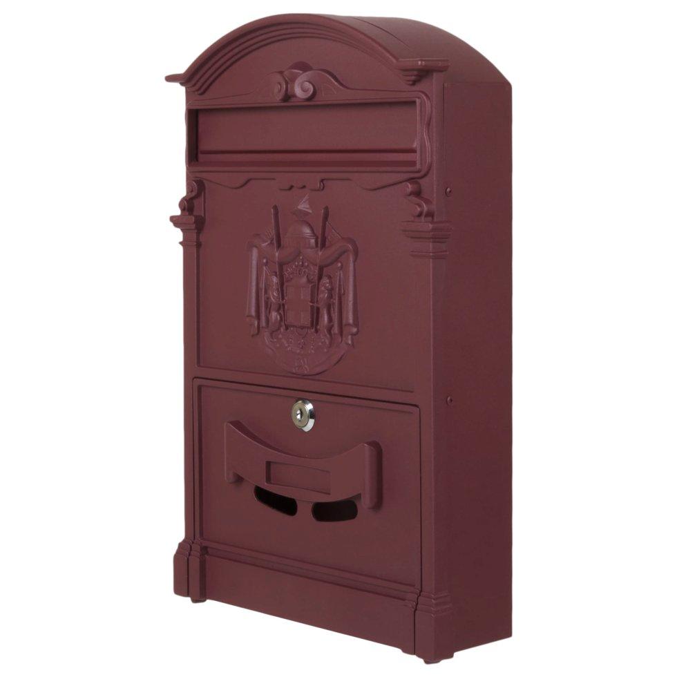 Ящик почтовый Standers MB-002-R, алюминий/сталь, цвет бордовый