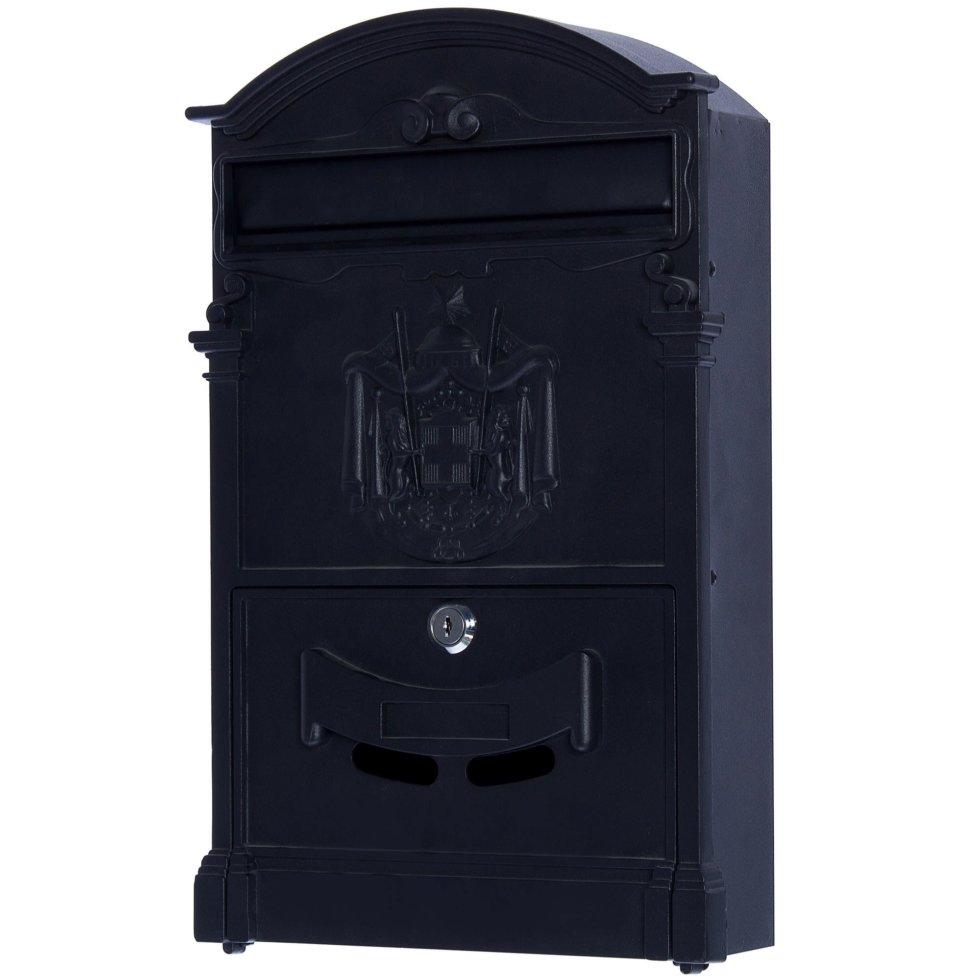 Ящик почтовый Standers MB-002, алюминий/сталь, цвет чёрный