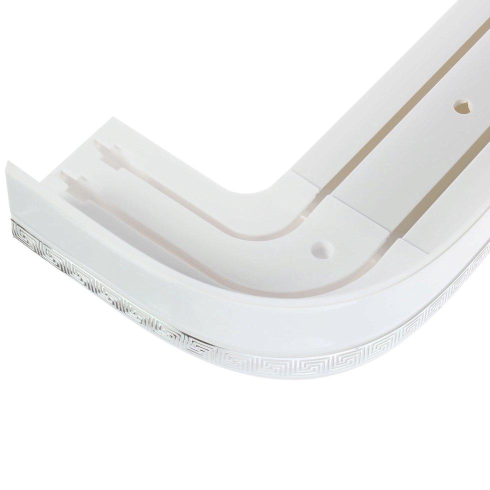 Карниз шинный двухрядный «Греция» в наборе 160 см цвет белый/хром
