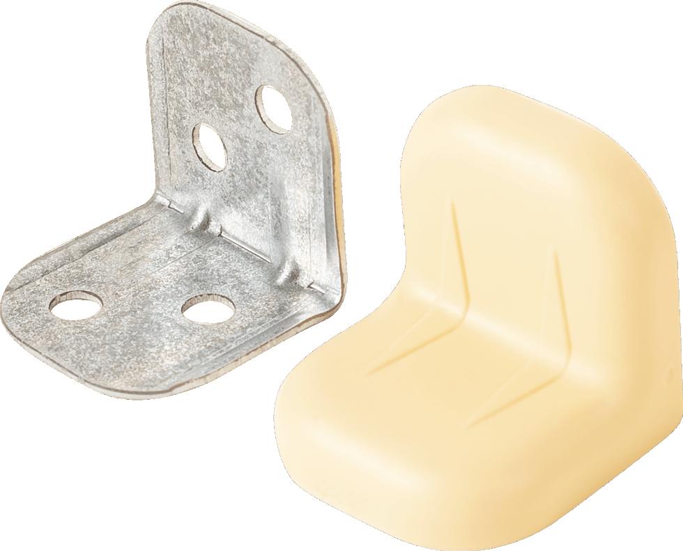 Уголок мебельный с декоративной накладкой 20х20х28 мм, цвет бежевый, 4 шт.