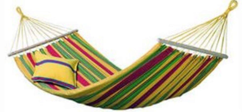 Гамак садовый с подушкой 100x200 см, цвет красно-зелёно-жёлтый