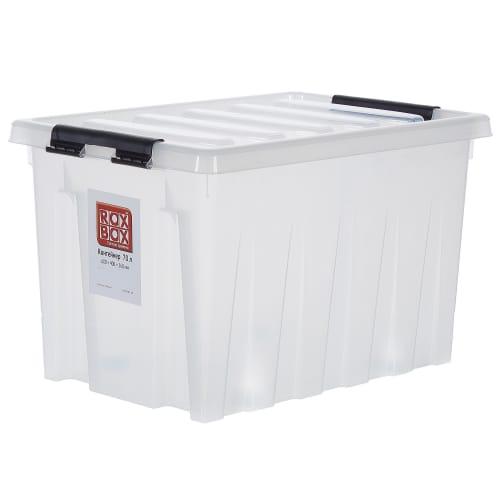 Контейнер Rox Box с крышкой с роликами 40x36x60 см, 70 л, пластик цвет прозрачный