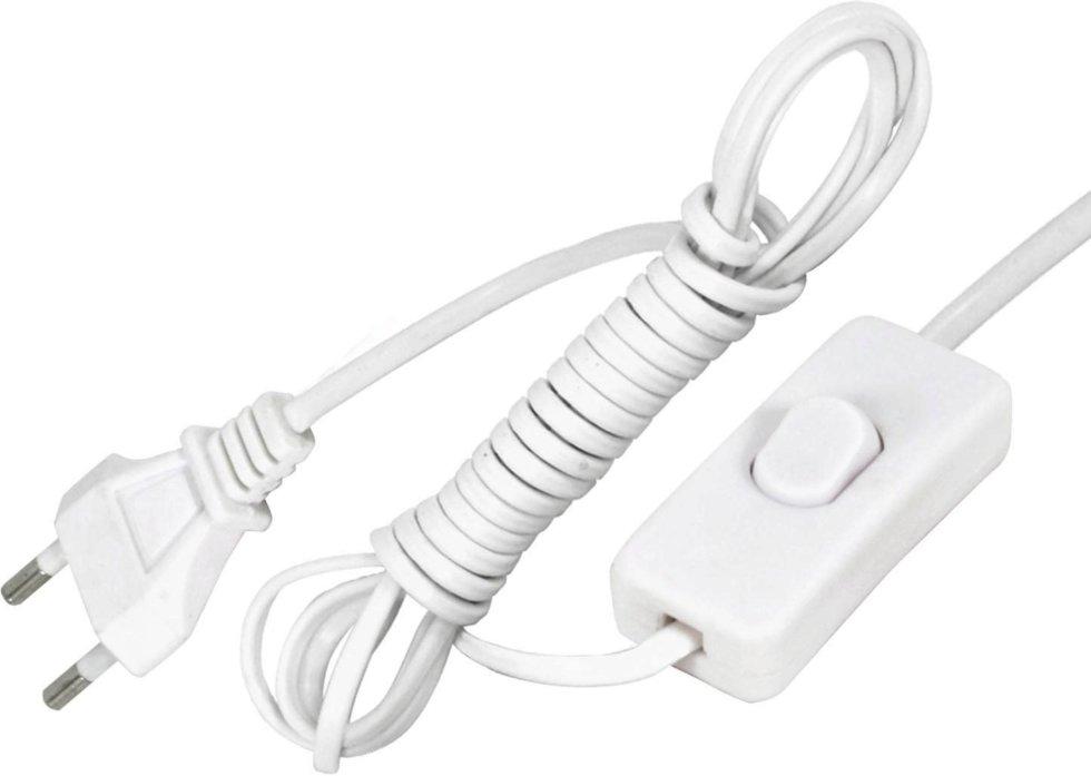 Шнур сетевой с выключателем, 1.9 м, цвет белый
