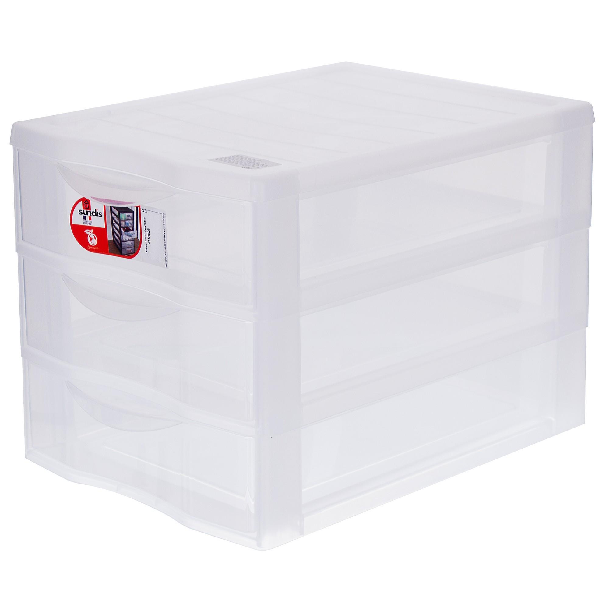 Органайзер Sundis А4, 3 выдвижных ящика, пластик цвет прозрачный