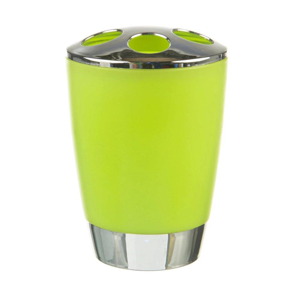 Стакан для зубных щёток настольный «Альма» пластик цвет зелёный