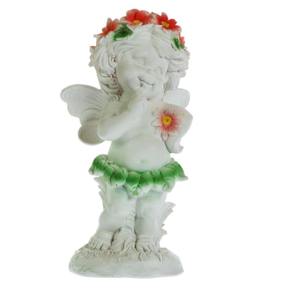 Фигура садовая «Ангел в цветах» высота 43 см