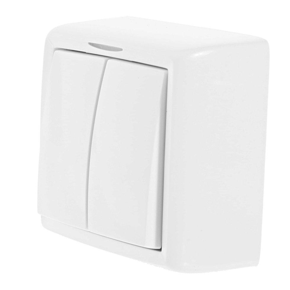 Выключатель Reone 2 клавиши цвет серый