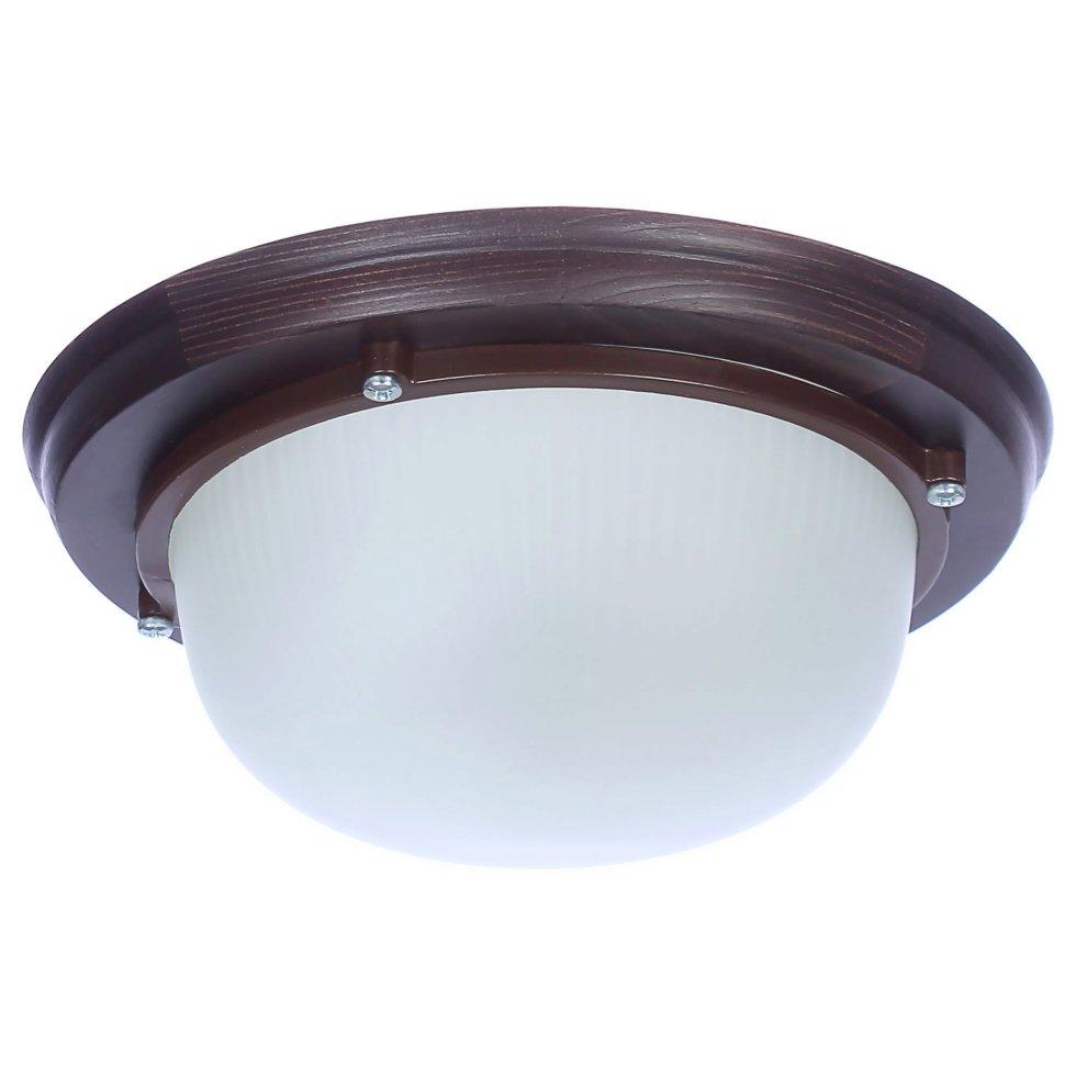 Светильник для сауны круглый 1xE27x60 Вт, цвет венге, IP65