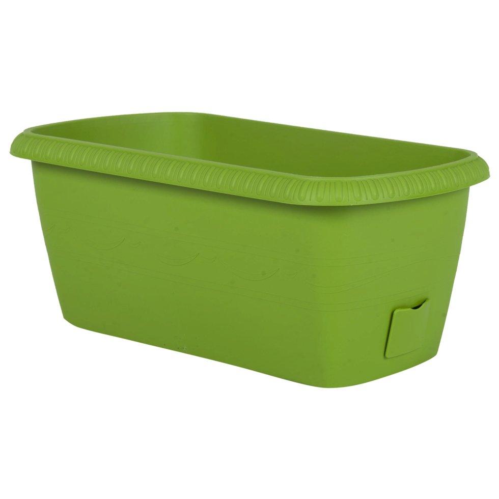 Ящик балконный «Жардин» зелёный 40 см, пластик