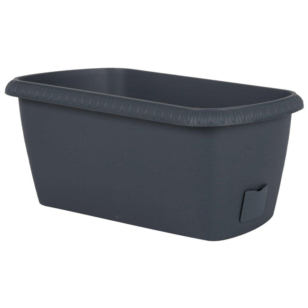 Ящик балконный «Жардин» серый 40 см, пластик
