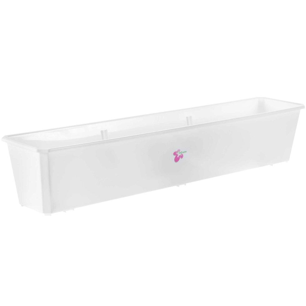 Ящик балконный белый 80 см, пластик