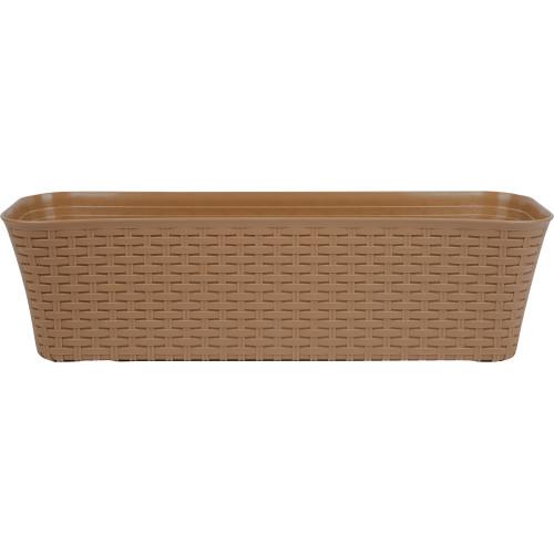 Ящик балконный «Ротанг» бежевый 60 см, пластик