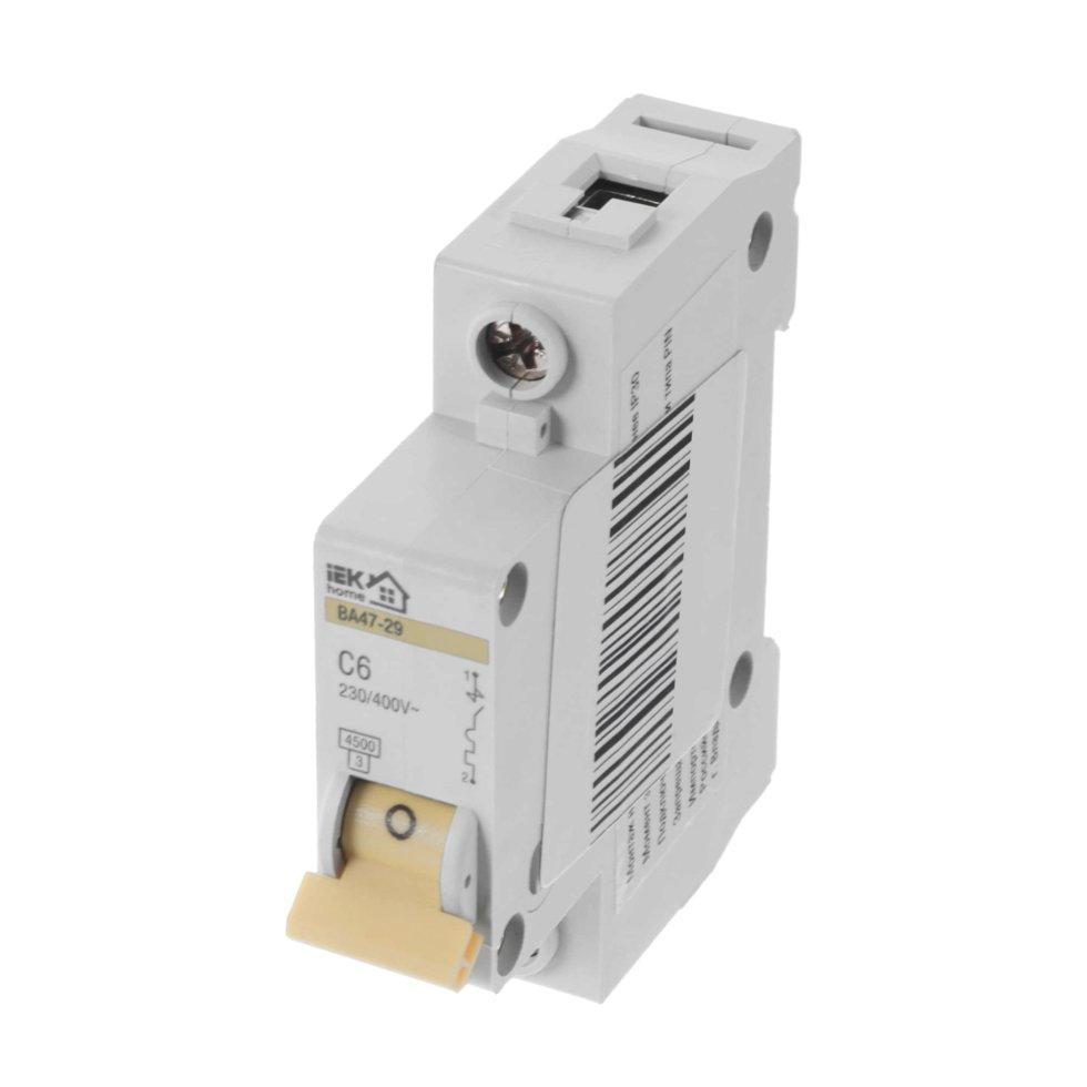 Выключатель автоматический IEK Home В А47-29 1 полюс 6 А