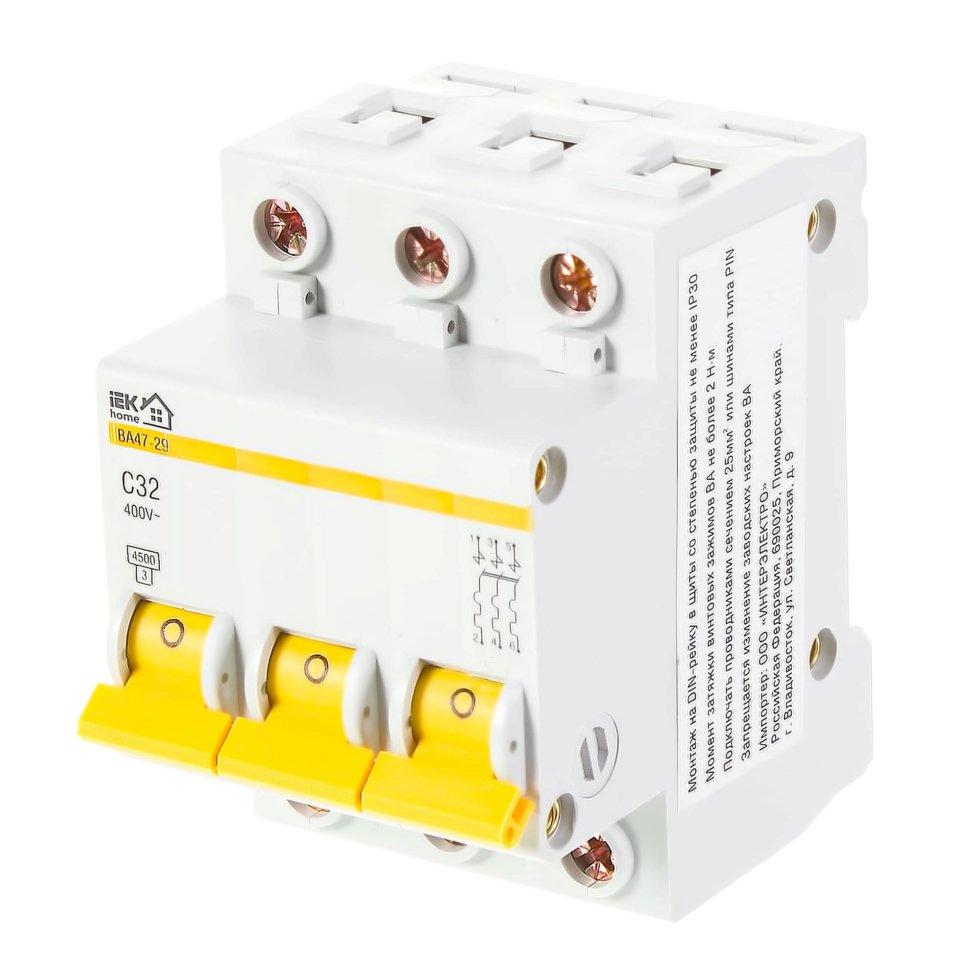 Выключатель автоматический IEK Home В А47-29 3 полюса 32 А