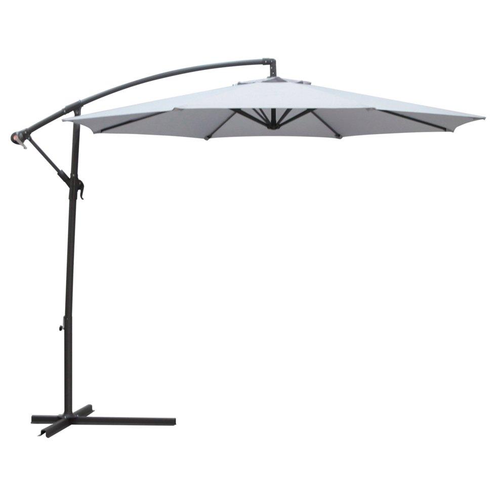 Зонт дачный 3 м серый подвесной на подставке, сталь