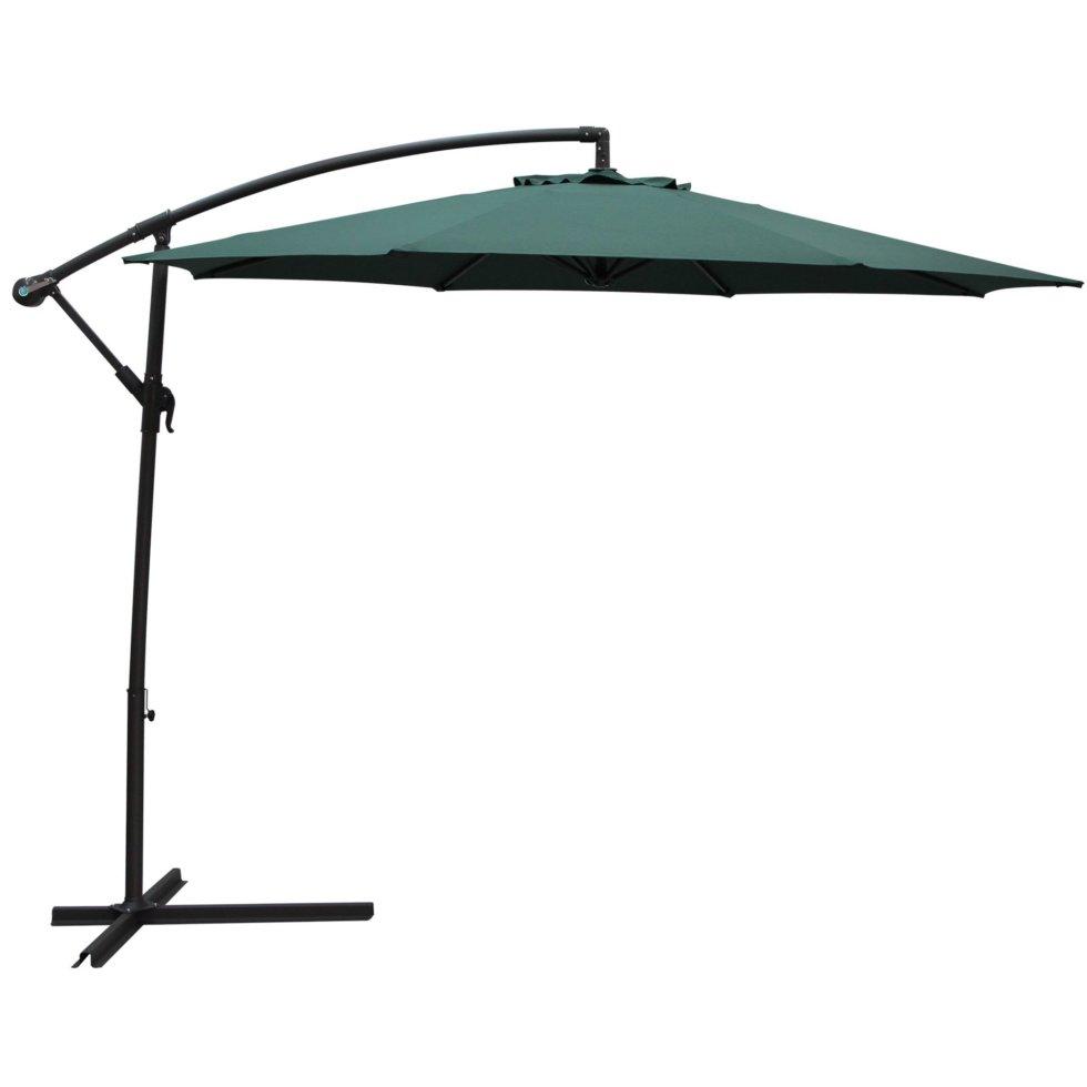 Зонт дачный 3 м зелёный подвесной на подставке, сталь/алюминий