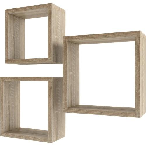 Набор мебельных полок «Квадрат», 30/27/24 см, цвет сонома, 3 шт.