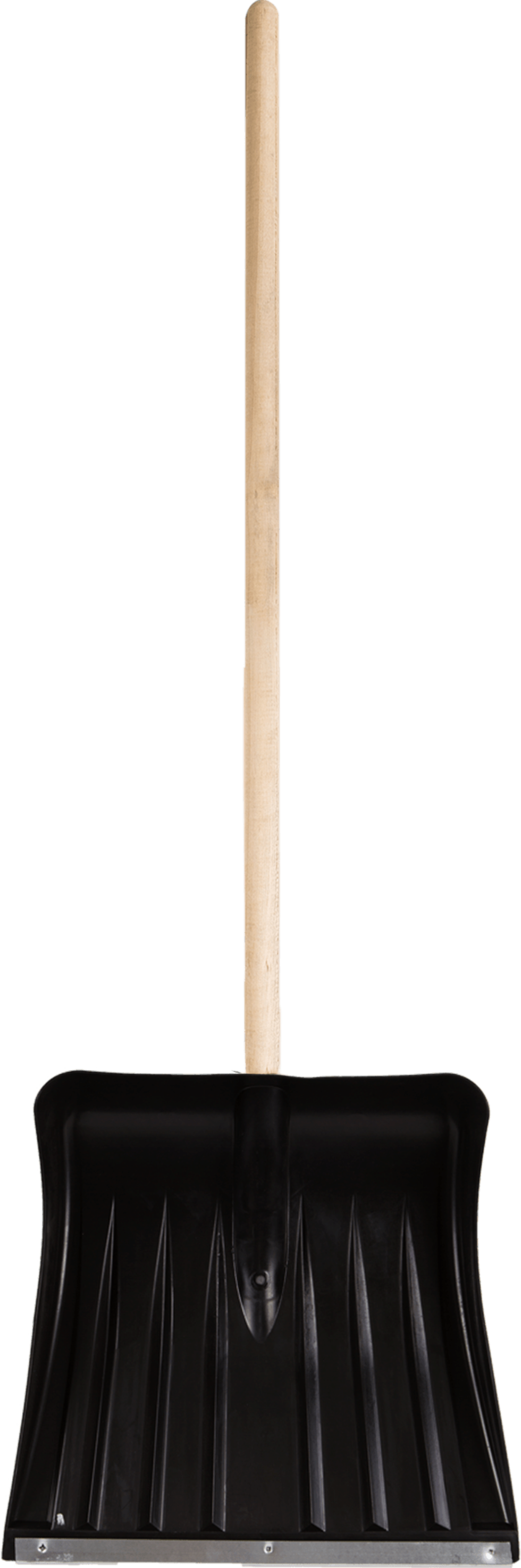 Лопата с планкой для уборки снега 35x35 см пластик деревянный черенок