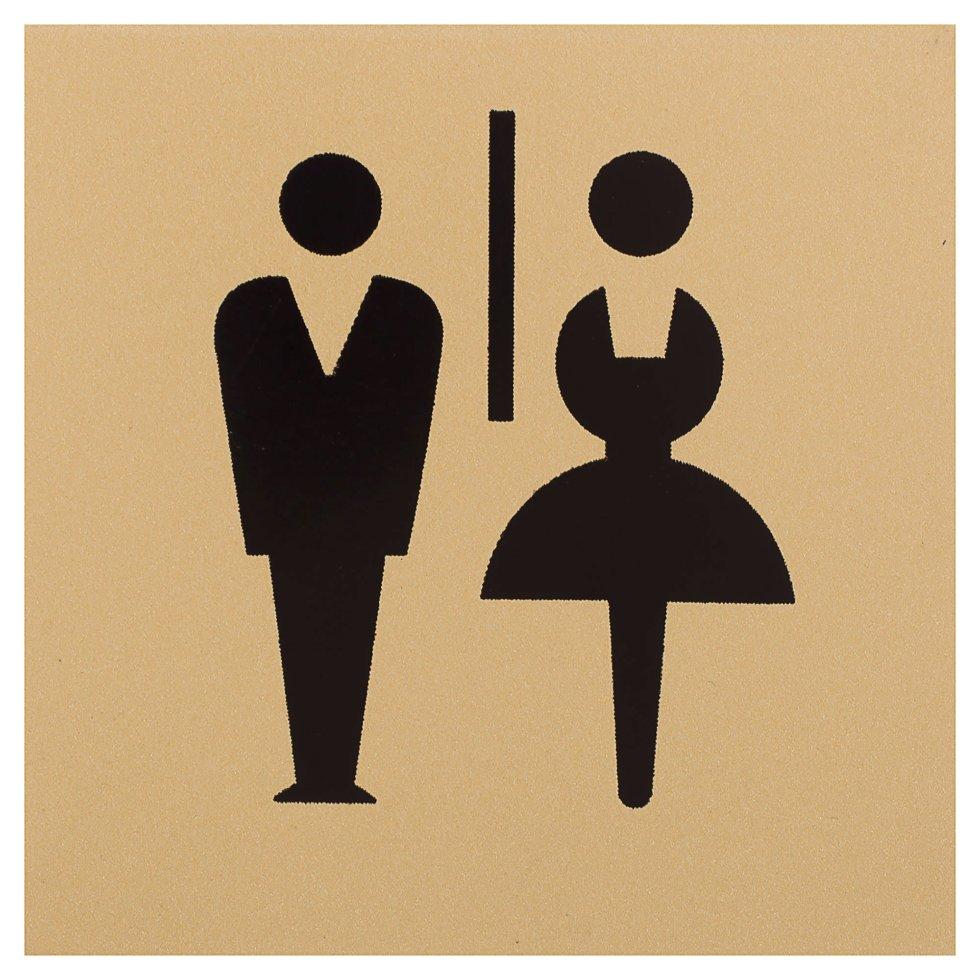 Знак дверной «М/Ж» Larvij самоклеящийся цвет золото