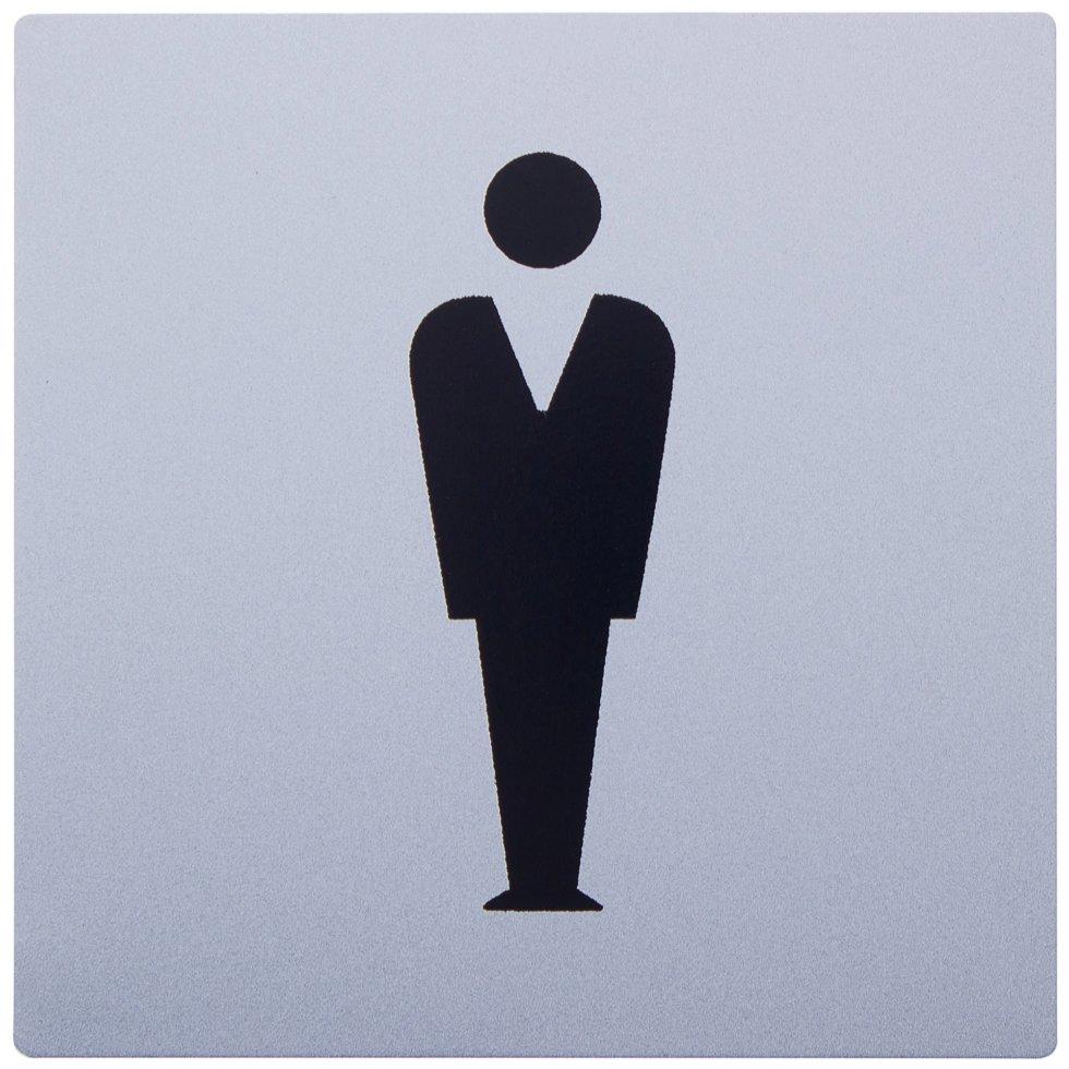 Знак дверной «М» Larvij самоклеящийся цвет серебро