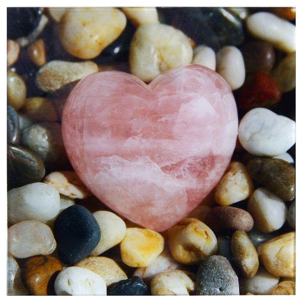 Картина на стекле 30х30 см «Розовое сердце»