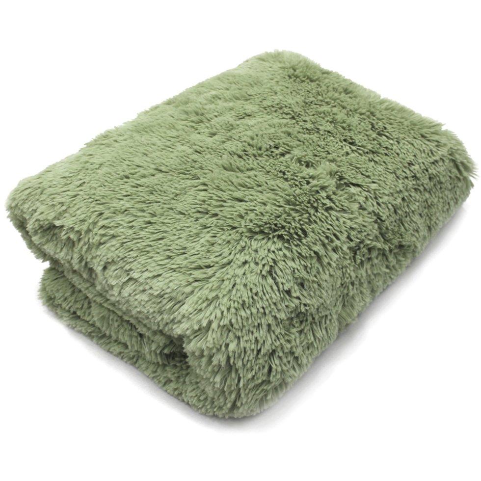 Плед с длинным ворсом 200х220 см полиэстер цвет зелёный