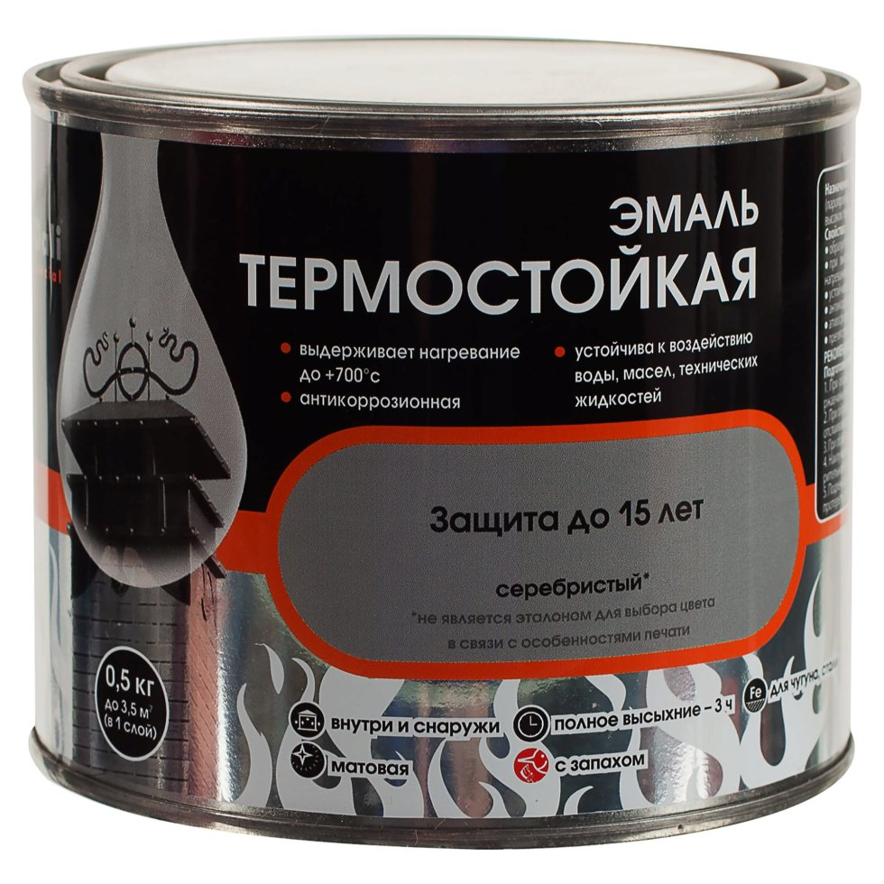 Эмаль термостойкая Dali цвет серебристый 0.5 кг