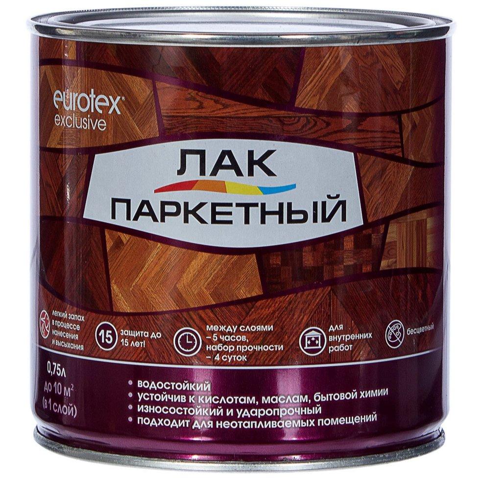 Лак паркетный Eurotex алкидно-уретановый глянцевый бесцветный 0.75 л