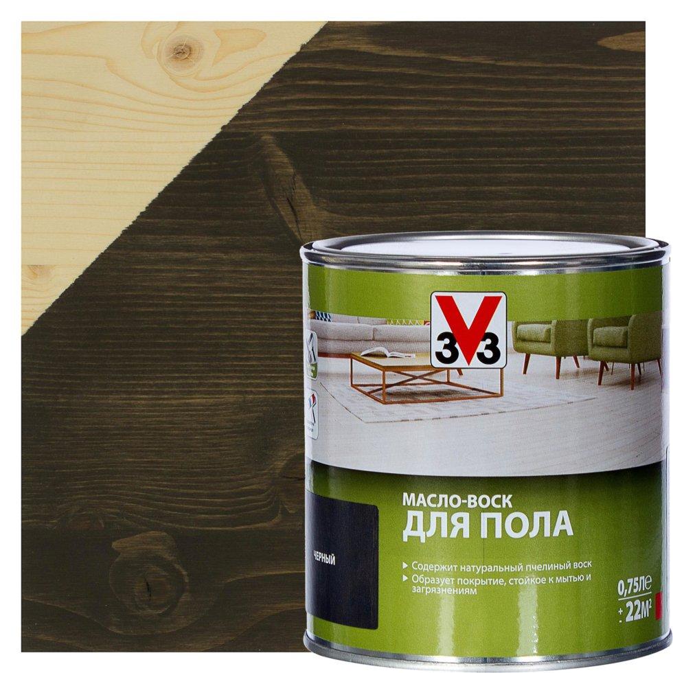 Масло-воск для пола V33 цвет чёрный 0.75 л